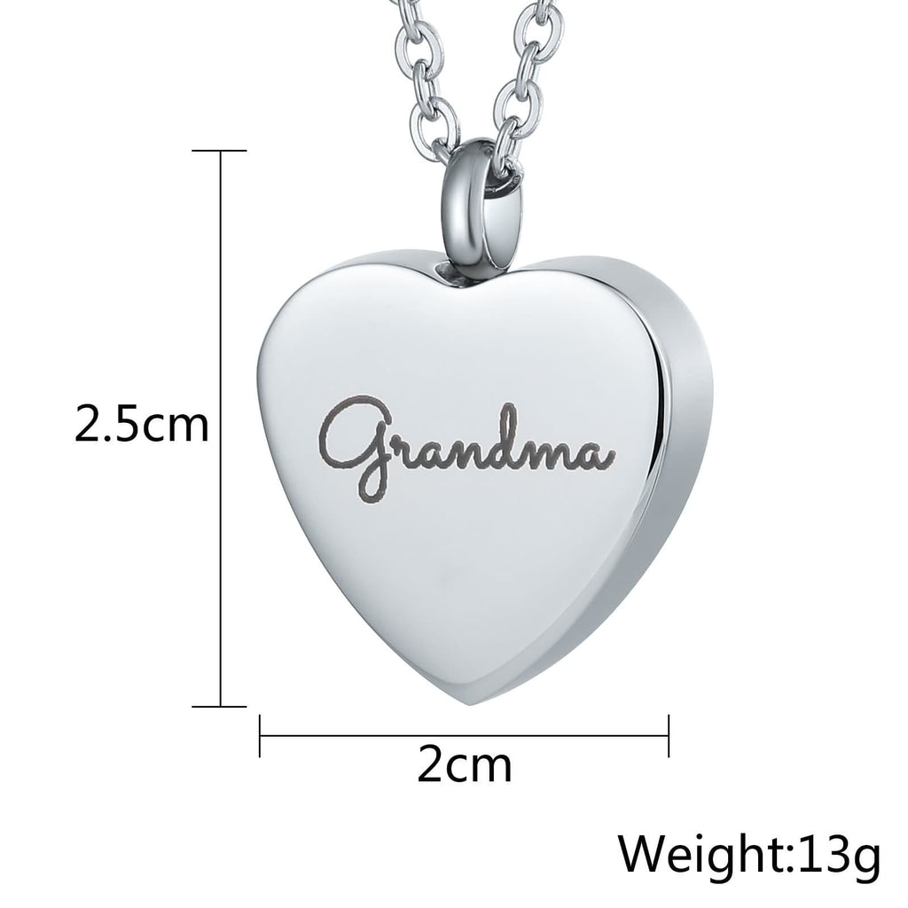 Urn Necklace Cremation Pendant Stainless Steel Holding Ashes Heart Engravable 2 x 2.5cm