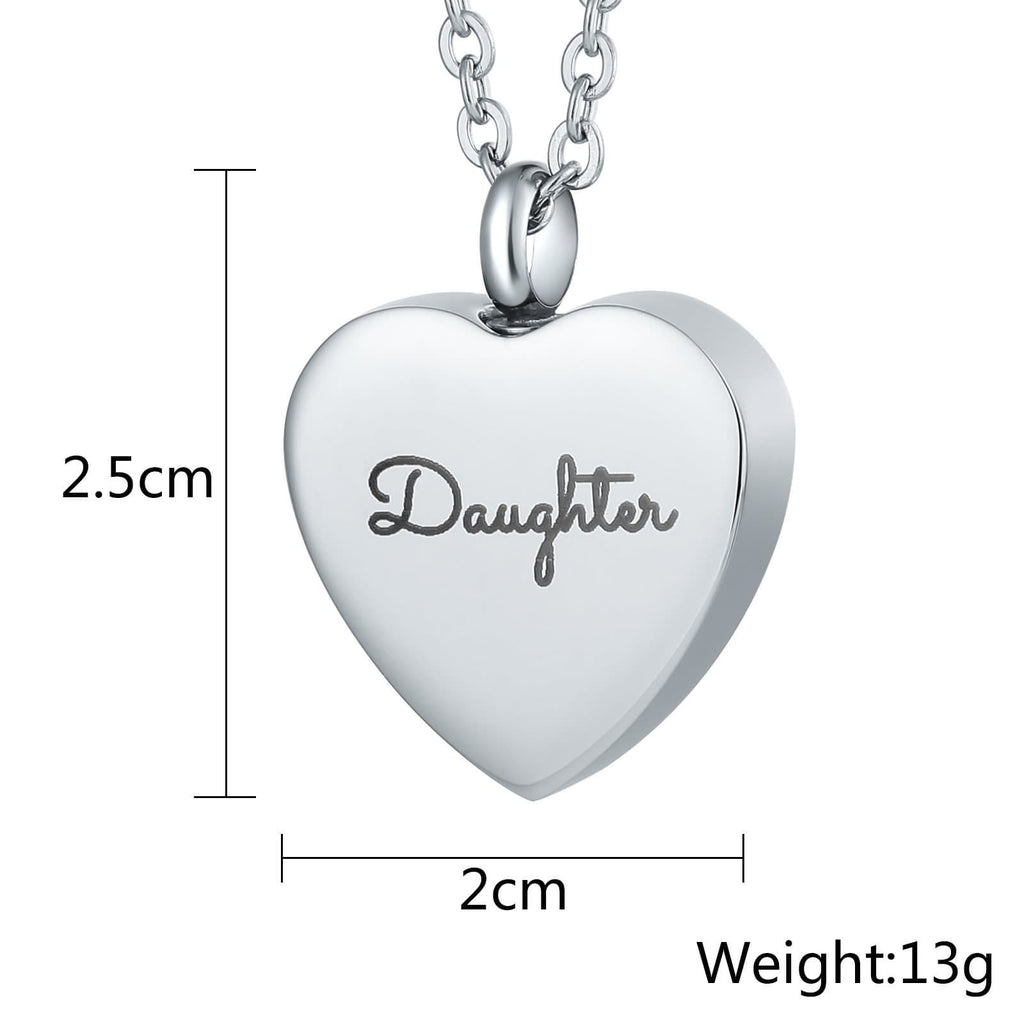 Ashes Urn Necklace Pendant Stainless Steel Cremation Jewelry Heart Engravable