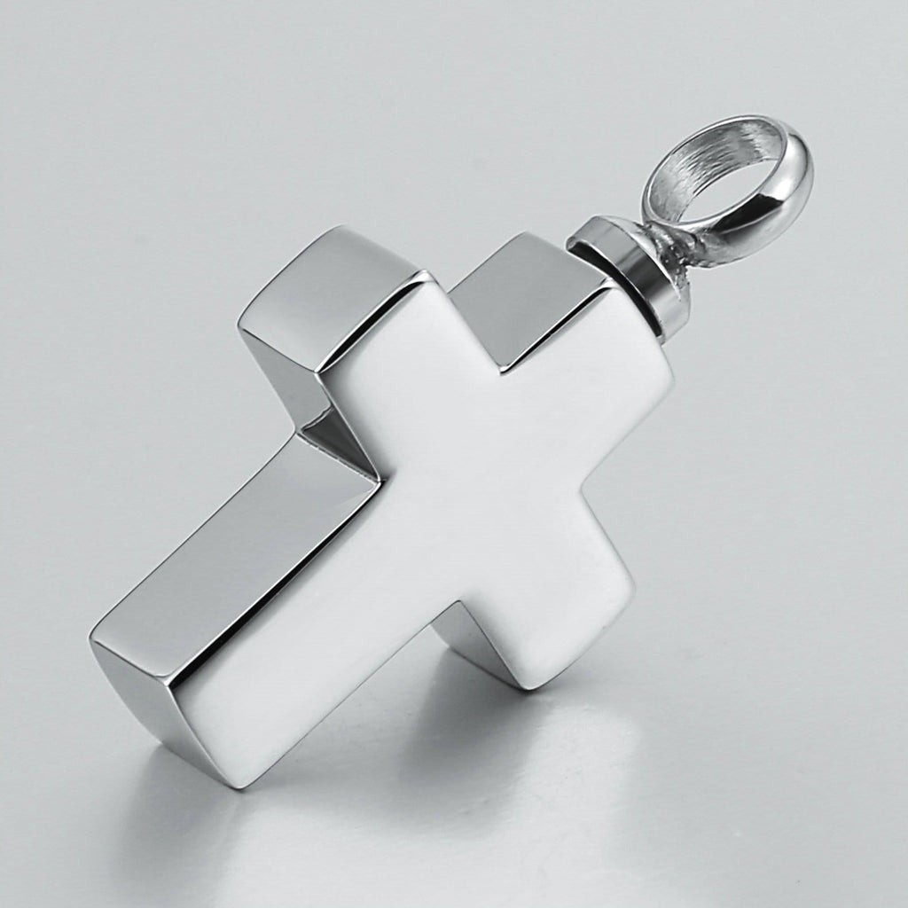 Urn Necklace Cremation Pendant Stainless Steel Cross Engravable 1.8 x 3cm