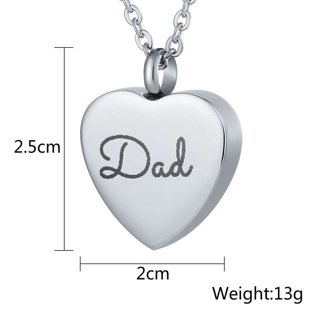 Urn Necklace Cremation Pendant Stainless Steel Jewlery Heart Engravable 2 x 2.5cm