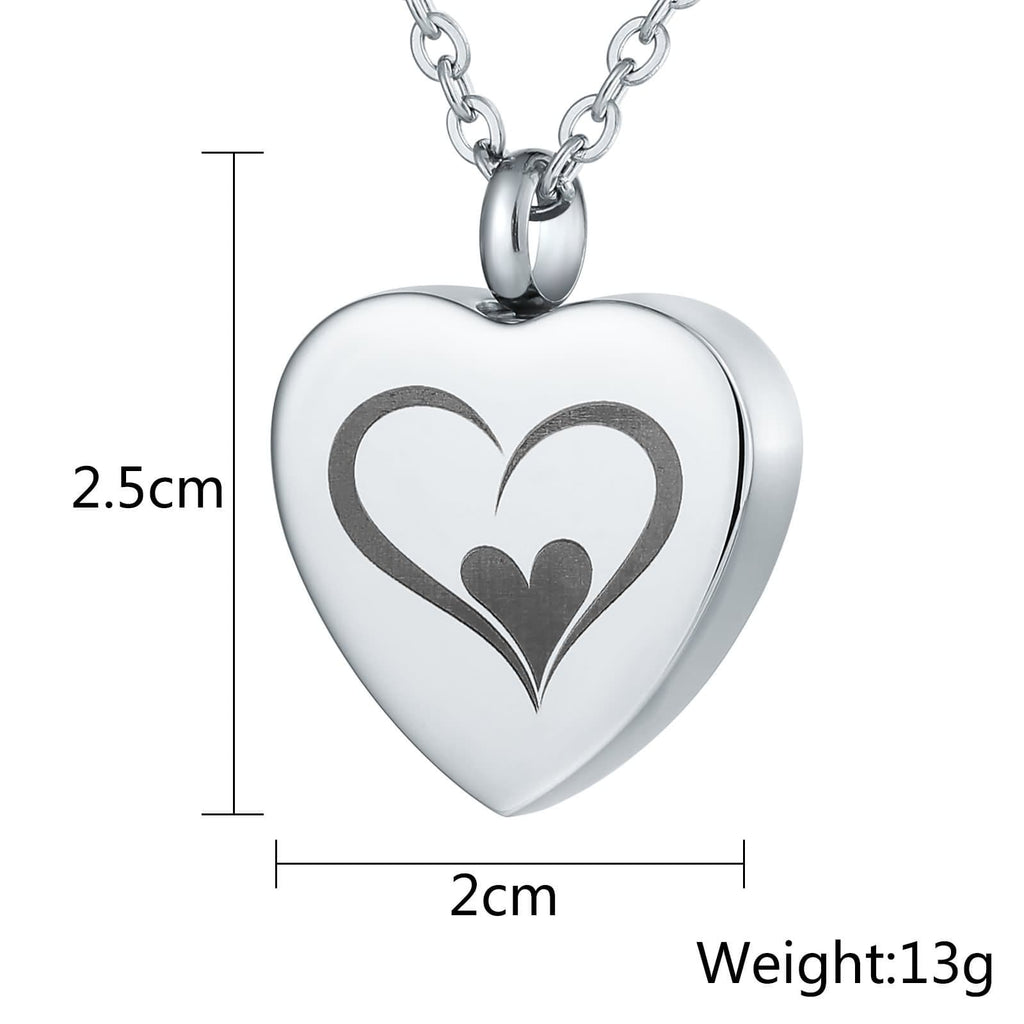Cremation Necklace Ashes Necklace Stainless Steel Keepsake Jewelry Heart Engravable 2x2.5cm