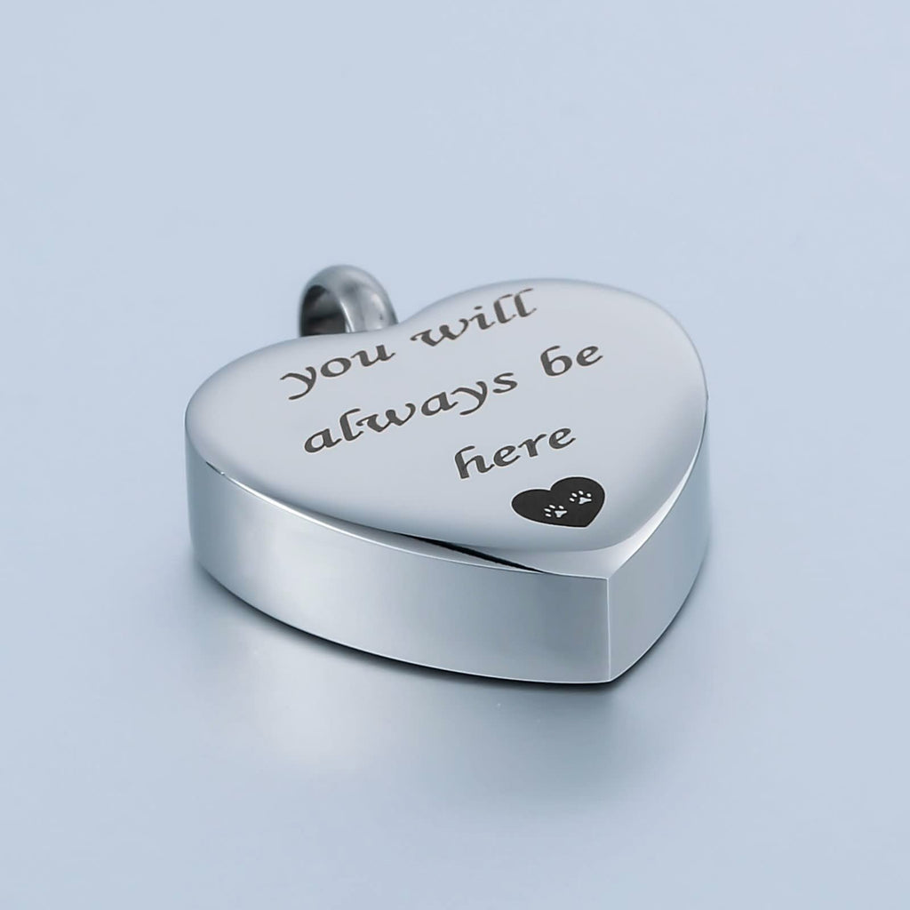 Ashes Necklace Keepsake Pendant Stainless Steel Heart Engravable 2 x 2.5cm