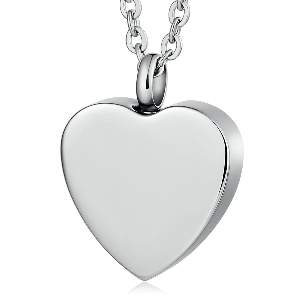 Cremation Urn Necklace Pendant Stainless Steel Keepsake Heart Engravable 2 x 2.5cm