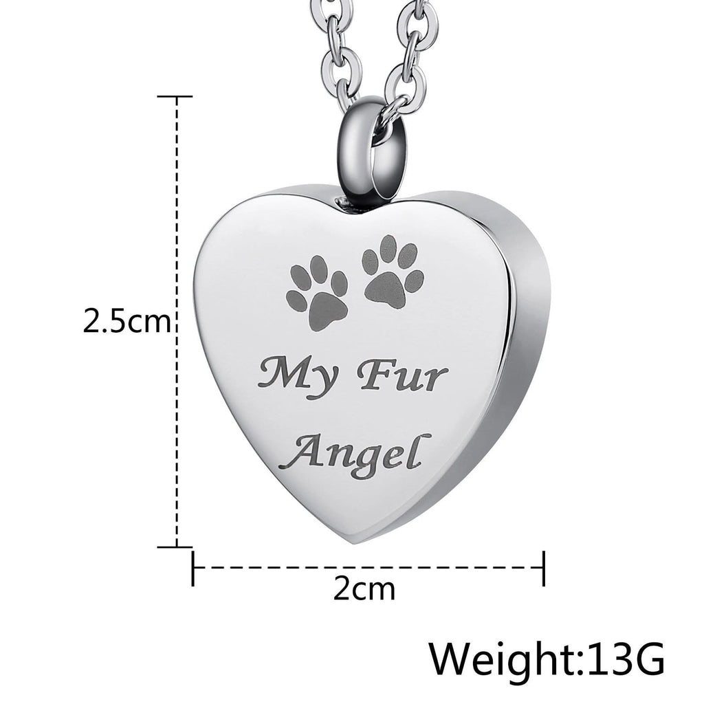 Urn Necklace Cremation Pendant Stainless Steel Pendant Heart Engravable 2 x 2.5cm