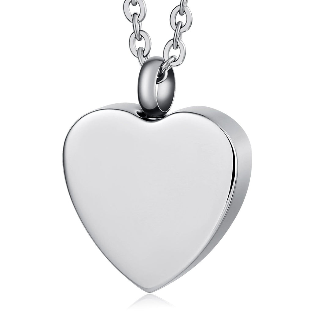 Ashes Necklace Keepsake Pendant Stainless Steel for Woman Heart Engravable 2 x 2.5cm