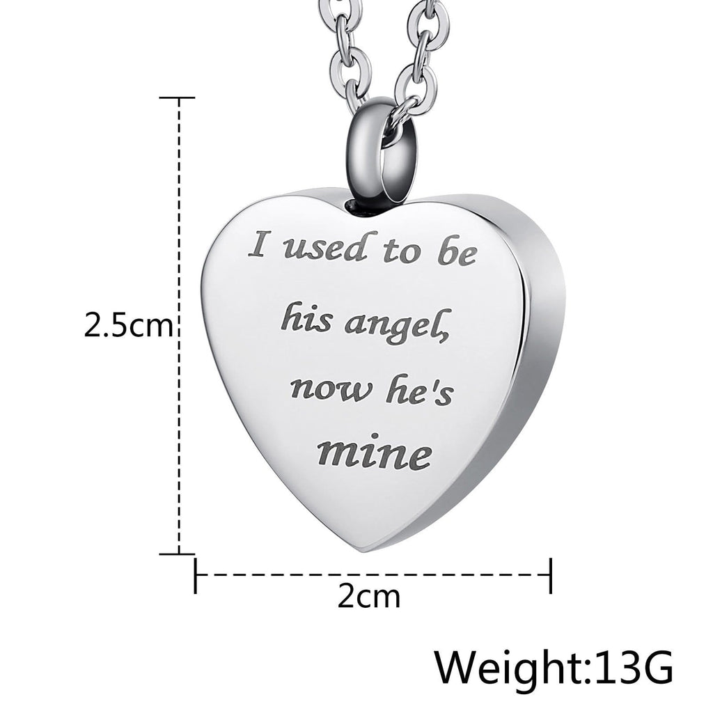 Urn Necklace Cremation Necklace Stainless Steel Heart Engravable 2 x 2.5cm