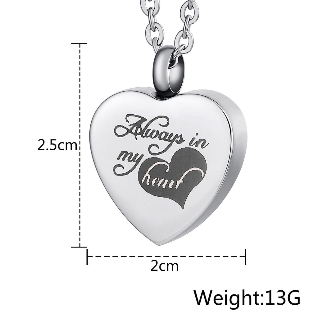 Cremation Ashes Necklace Pendant Stainless Steel Heart Engravable 2 x 2.5cm