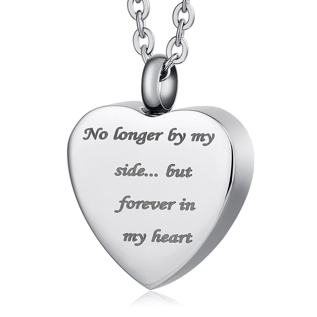 Urn Pendant Cremation Necklace Women Stainless Steel Heart Engravable