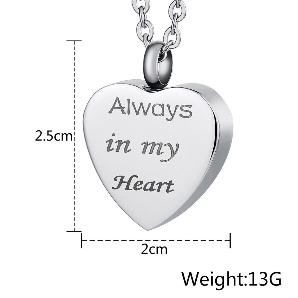 Urn Necklace Cremation Pendant Stainless Steel for Woman Heart Engravable 2 x 2.5cm