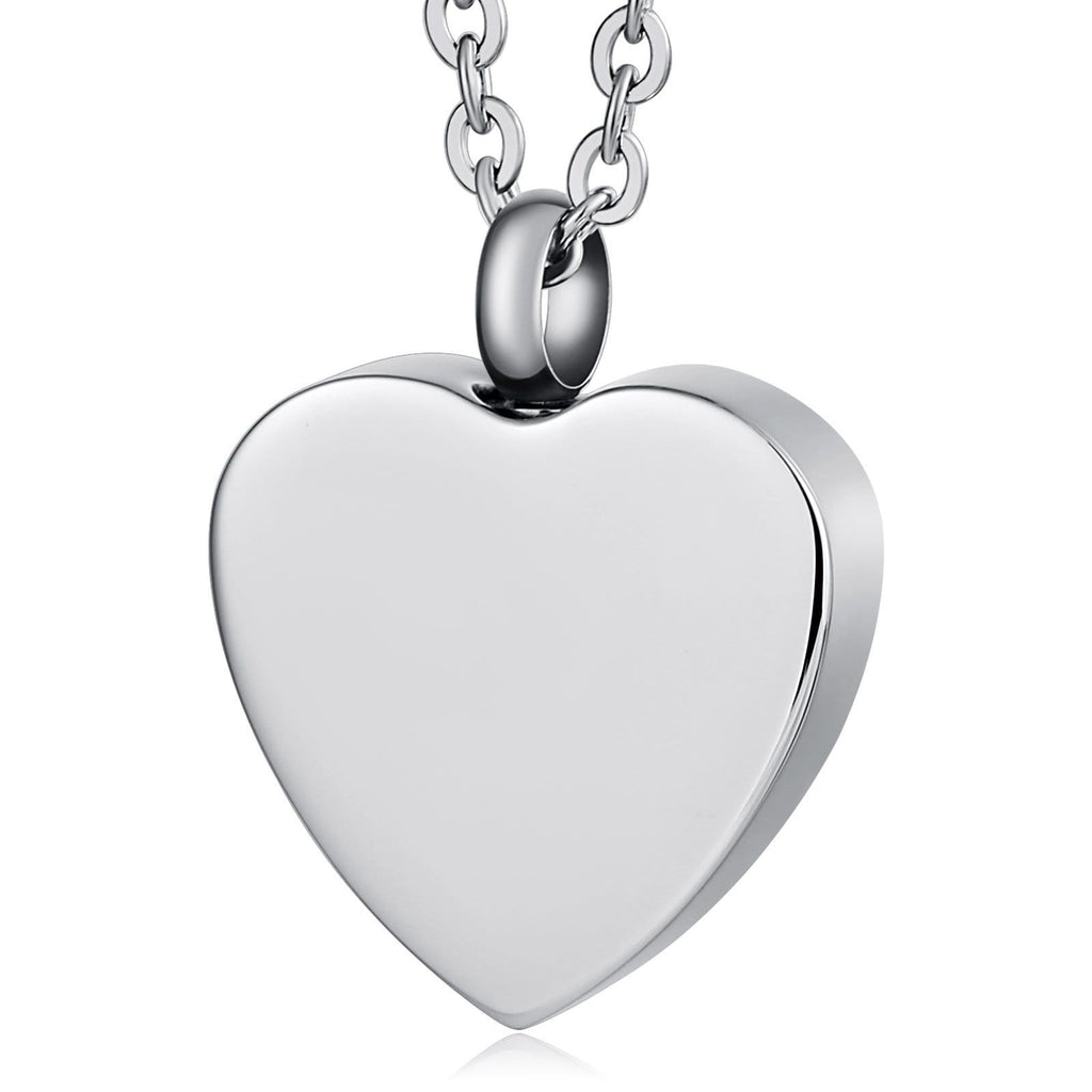 Ash Necklace for Women Urn Pendant Stainless Steel Heart Engravable 2 x 2.5cm