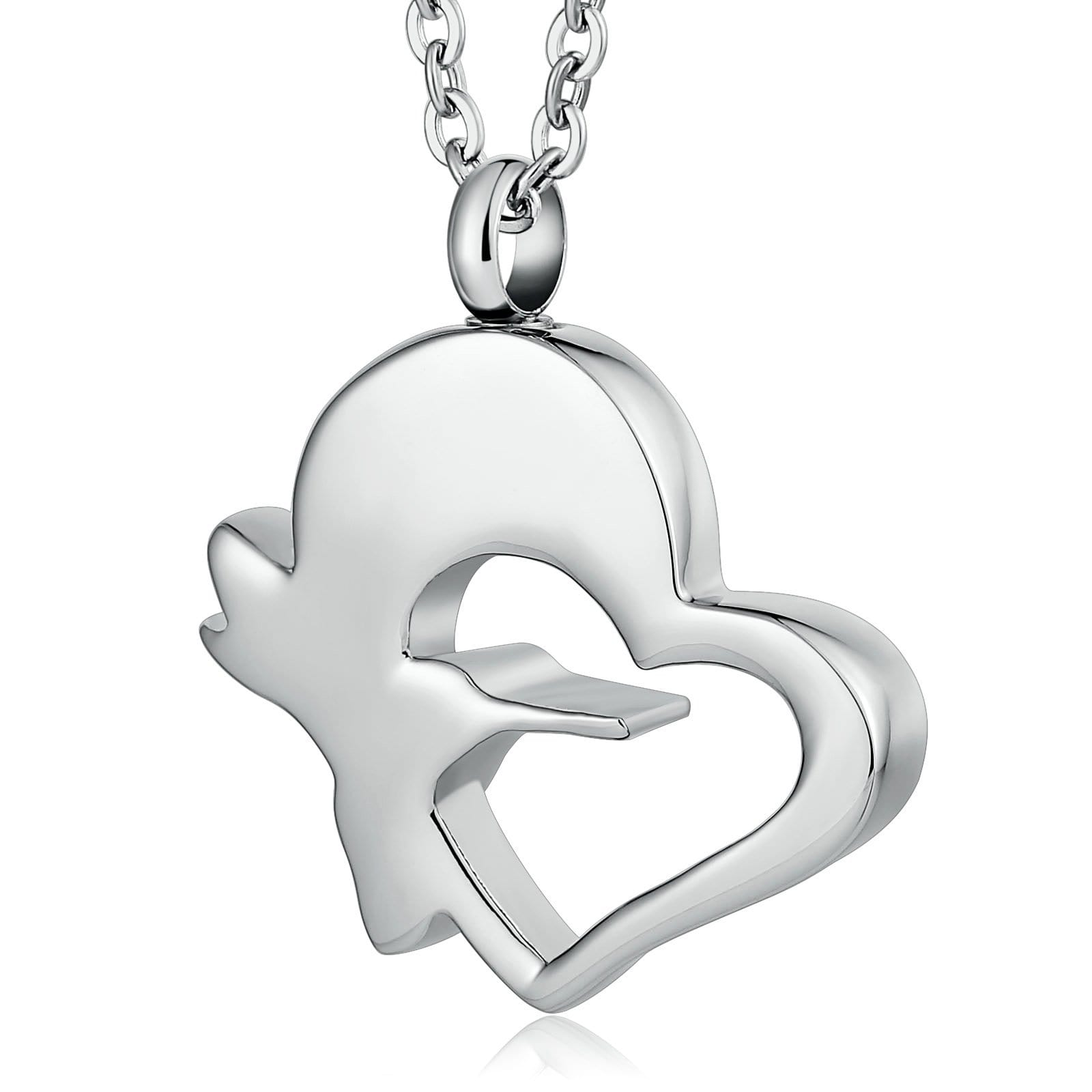 Cremation Ashes Necklace Pendant Stainless Steel Engravable 3 x 3.2cm