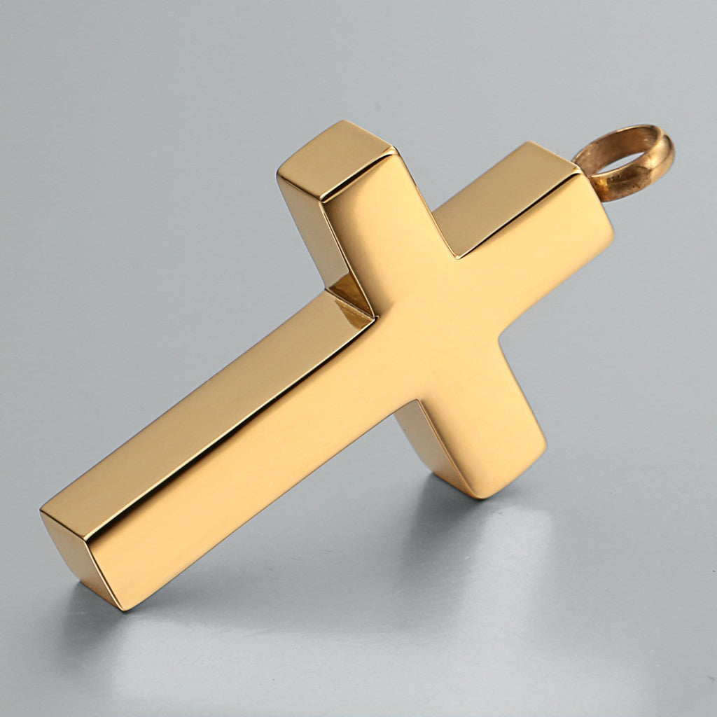 Cremation Ashes Necklace Pendant Stainless Steel Cross 2.3 x 4.2cm