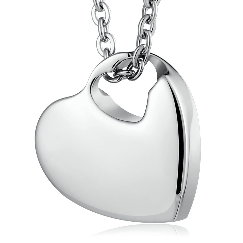 Urn Necklace Cremation Necklace Stainless Steel Heart Engravable 2 x 2cm