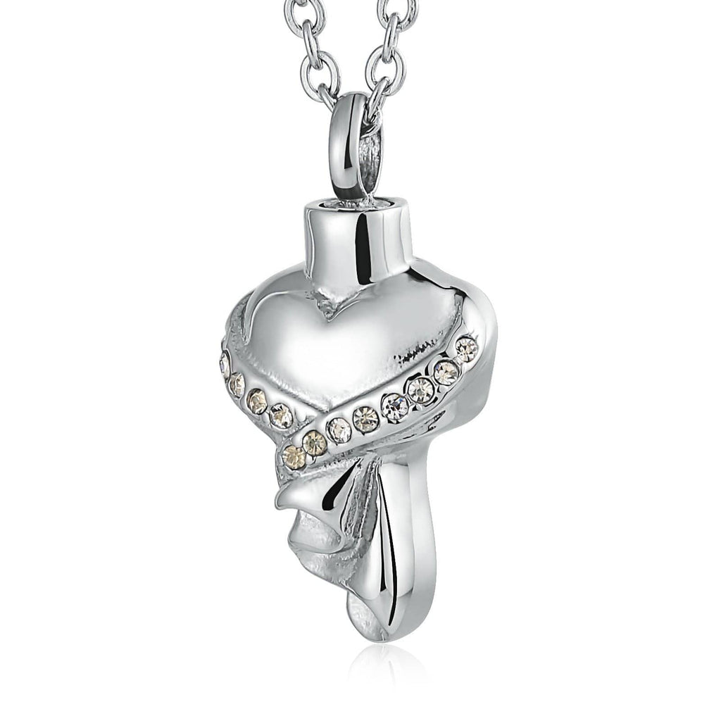 Urn Necklace Cremation Pendant Stainless Steel Engravable 1.5 x 3.2cm