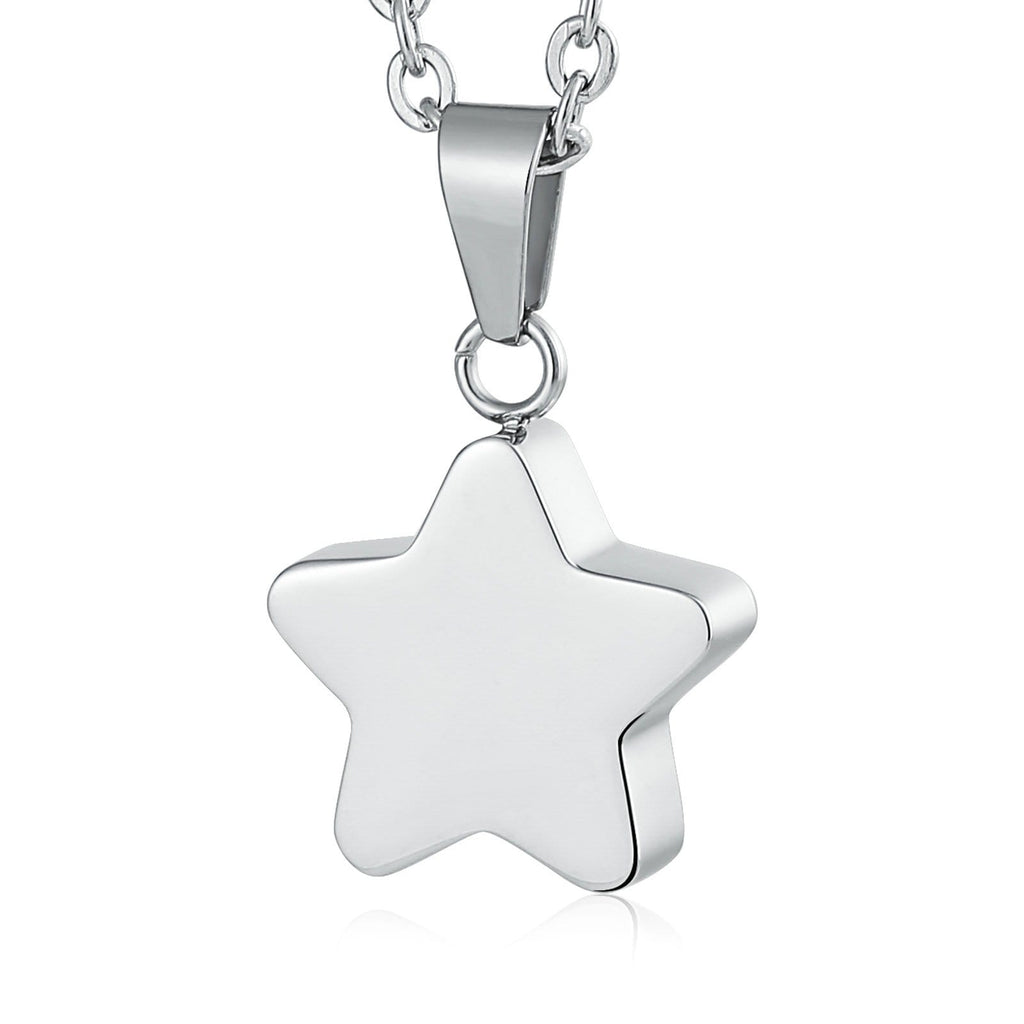 Urn Necklace Cremation Pendant Stainless Steel Star Engravable 1.5 x 2cm