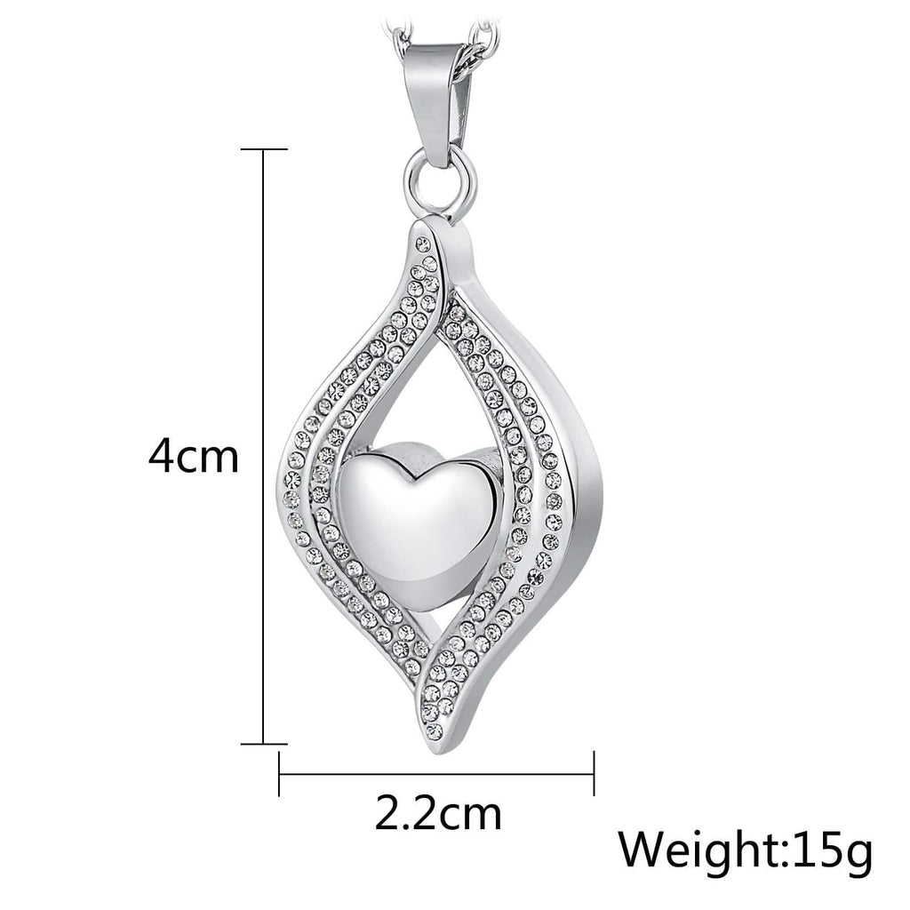 Ashes Necklace Keepsake Pendant Stainless Steel Silver Teardrop 2.2 x 4cm