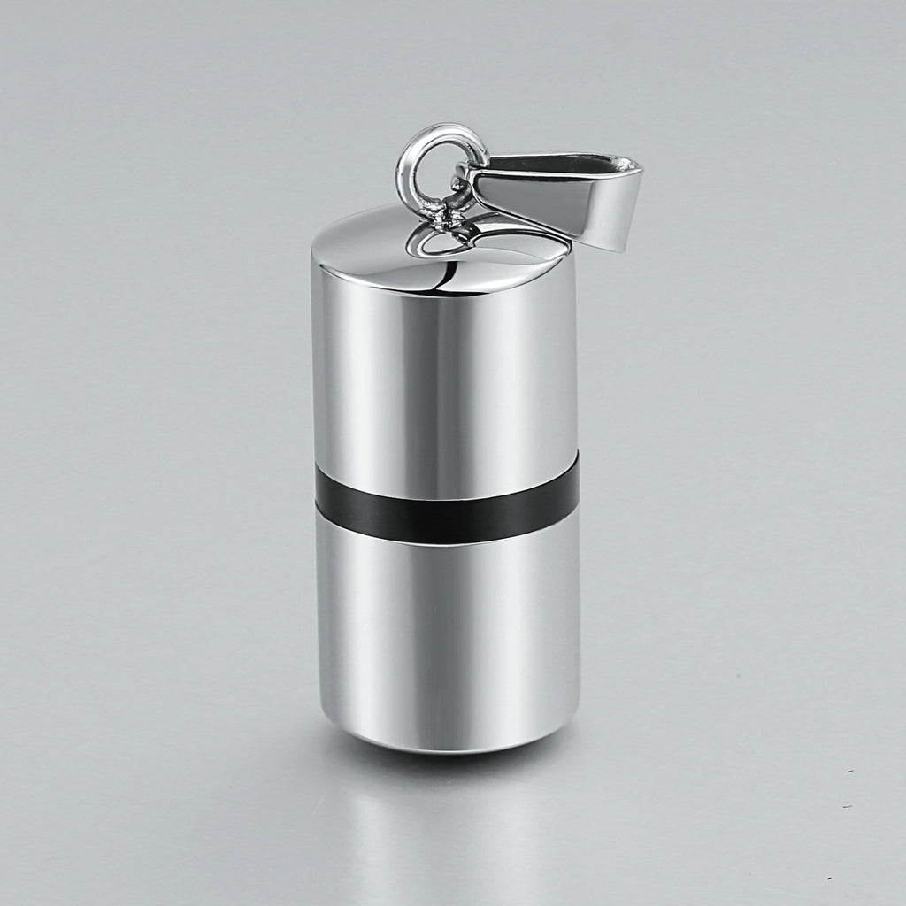 Urn Necklace Cremation Pendant Stainless Steel Silver Cylinder 1.2 x 2.8cm