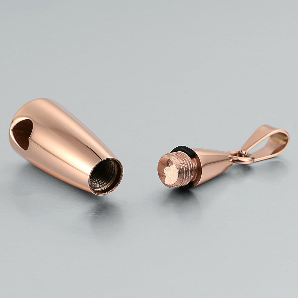 Urn Necklace Cremation Pendant Stainless Steel Rose Gold Teardrop 1 x 3.2cm