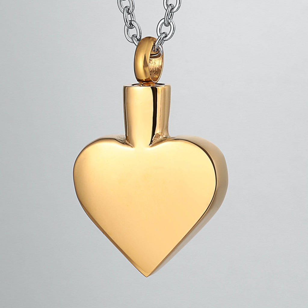 Urn Necklace Cremation Pendant Stainless Steel Gold Heart Engravable 2 x 3cm