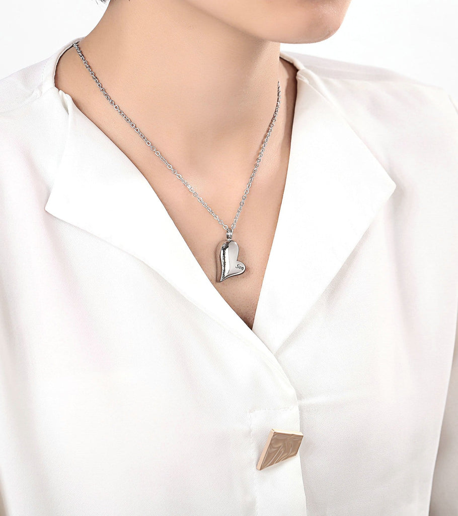 Urn Necklace Cremation Pendant Stainless Steel Silver Heart Engravable 1.7 x 3cm