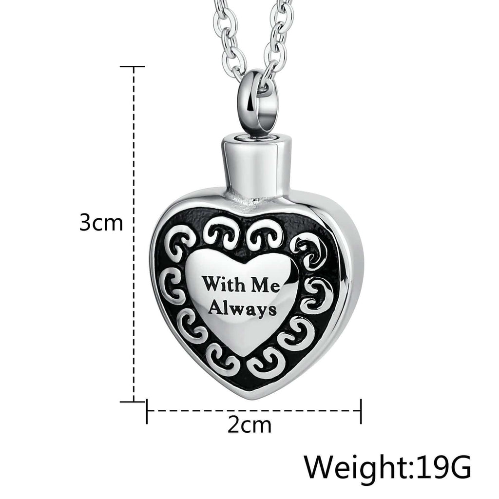 Ashes Urn Necklace Stainless Steel Cremation Jewelry Heart Engraving 2 x 3cm