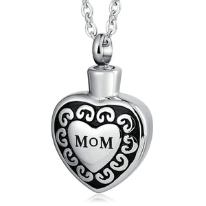 Cremation Ashes Necklace Pendant Stainless Steel Heart Engravable 2 x 3cm