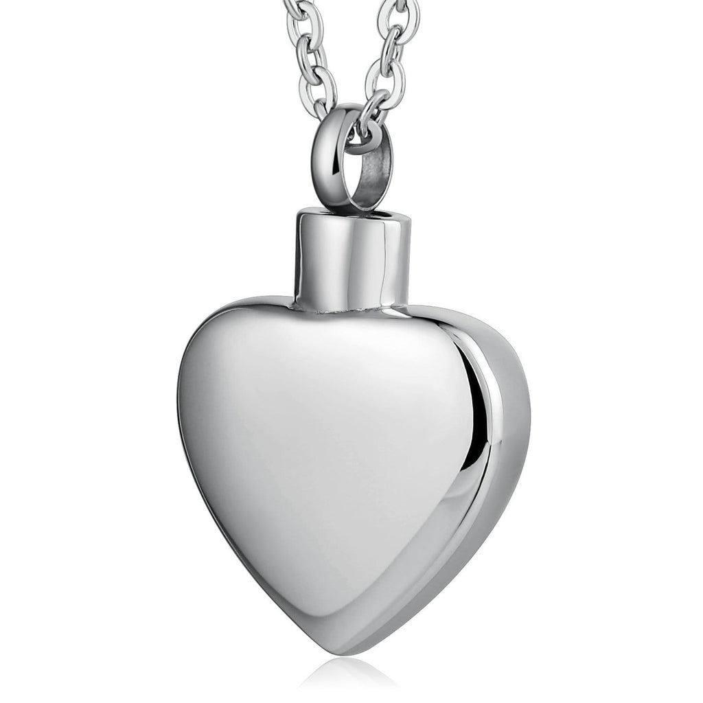 Urn Necklace Cremation Pendant Stainless Steel Holding Ashes Heart Engravable 2 x 3cm