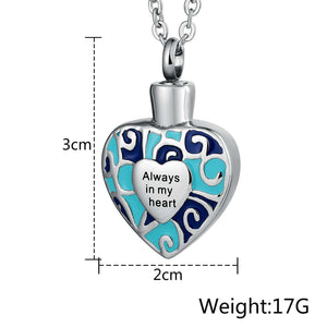 Stainless Steel Ash Necklace for Women Heart Engravable 2 x 3cm