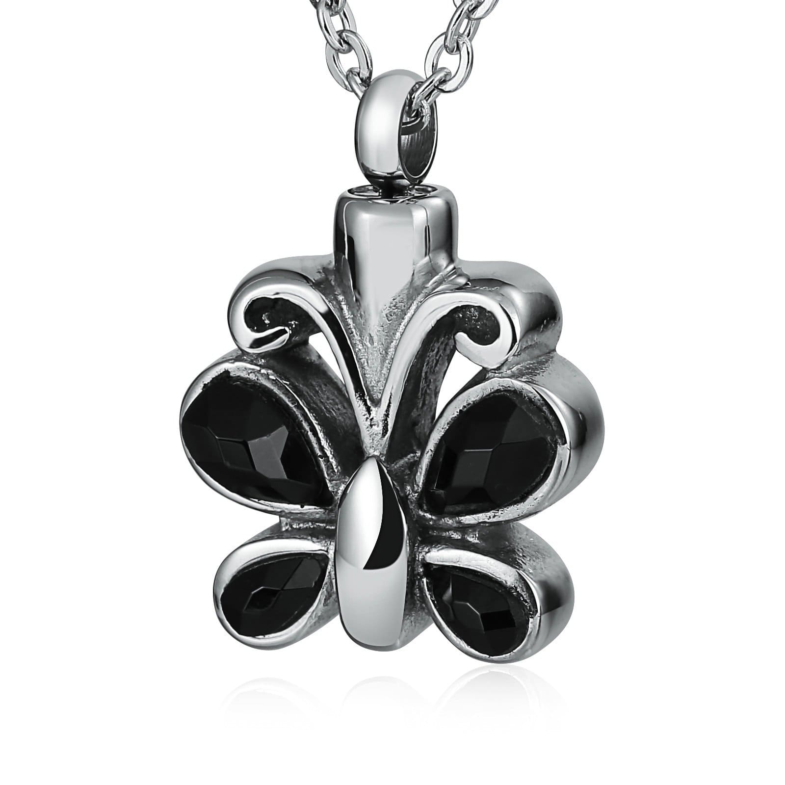 Urn Necklace Cremation Necklace Stainless Steel Black 2 x 3cm