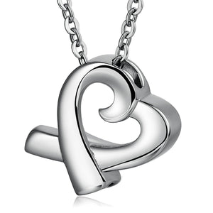 Urn Necklace Cremation Necklace Stainless Steel Silver Heart 2.5 x 2cm