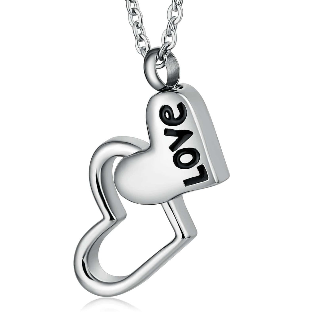 Urn Necklace Cremation Pendant Stainless Steel for Women Silver 2.5 x 4cm
