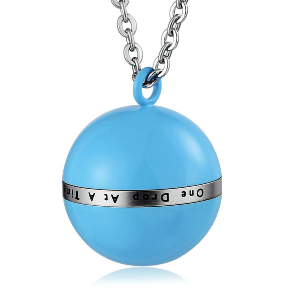 Cremation Ashes Necklace Pendant Stainless Steel Blue Ball 2 x 2.5cm