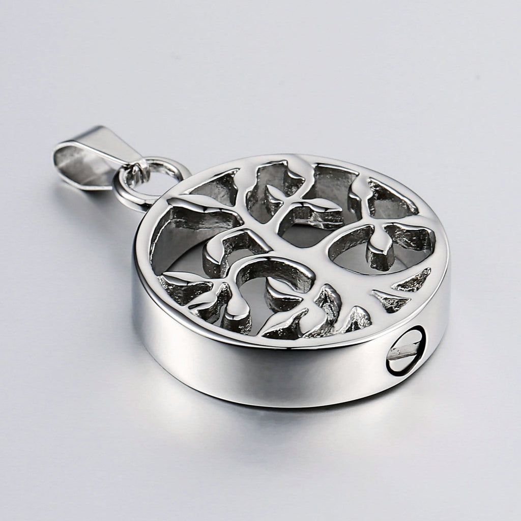 Urn Necklace Cremation Necklace Stainless Steel Silver Circle 2.5 x 3cm