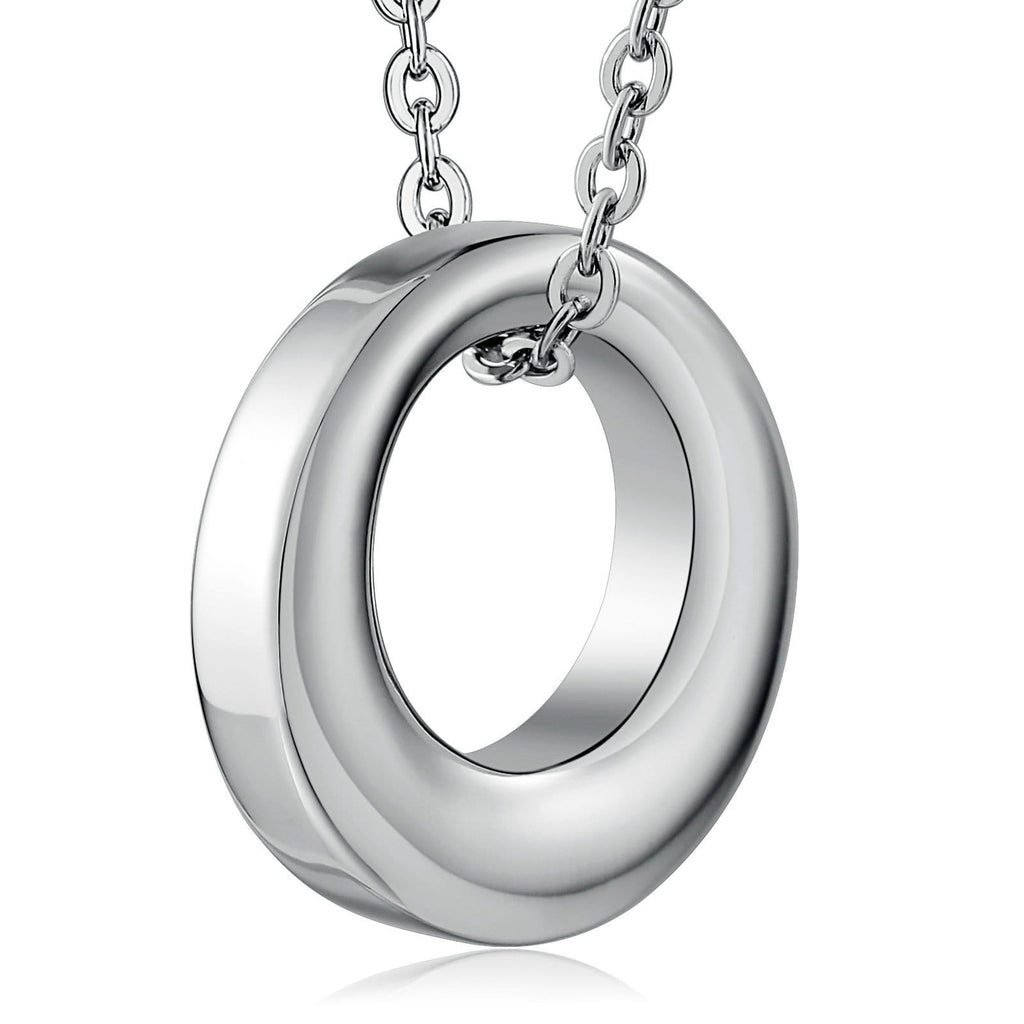 Cremation Ashes Necklace Pendant Stainless Steel Silver Circle 2.3 x 2.3cm