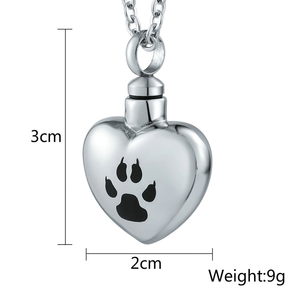 Urn Necklace Cremation Necklace Stainless Steel Silver Heart 2 x 3cm
