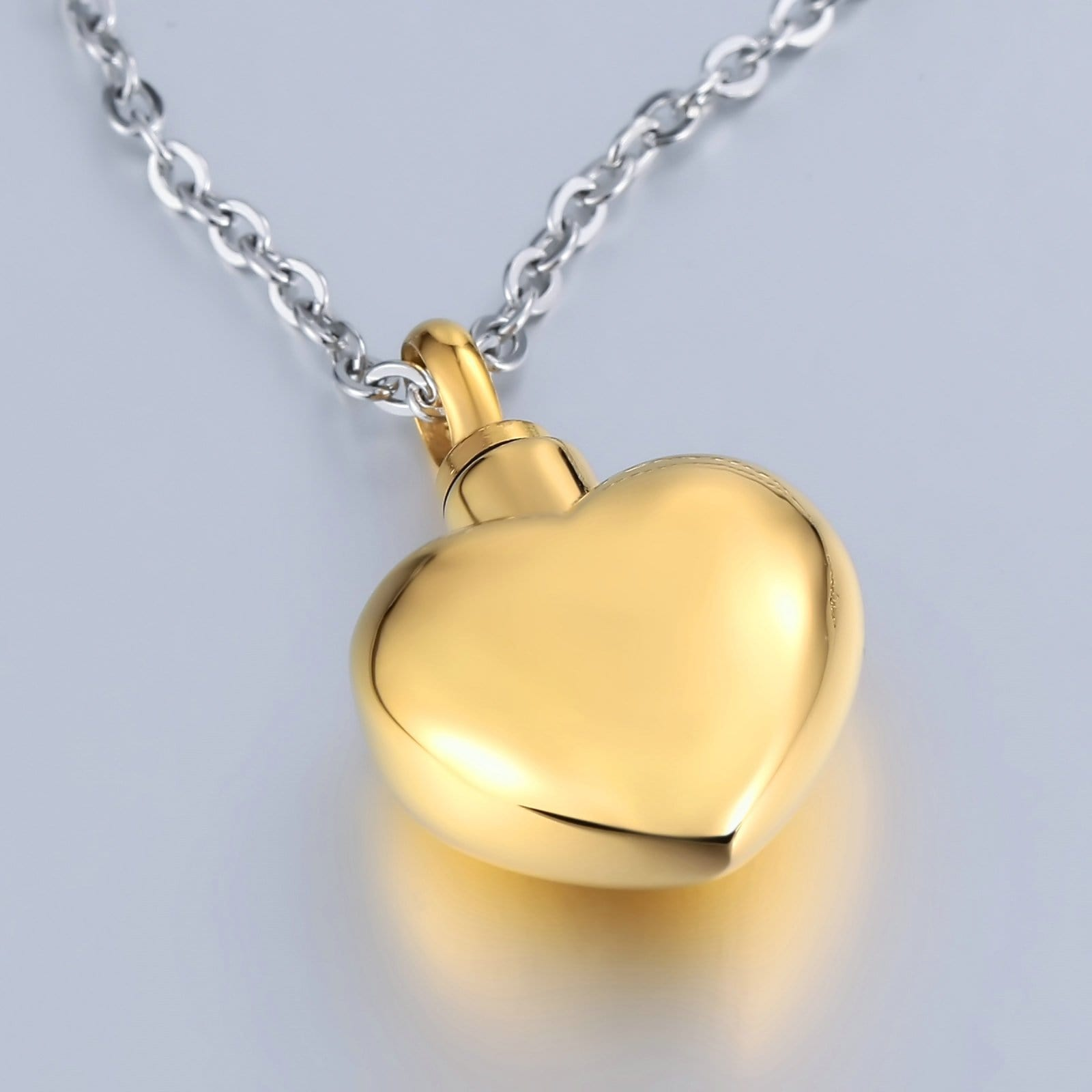 Cremation Ashes Necklace Pendant Stainless Steel Gold Heart 2 x 3cm