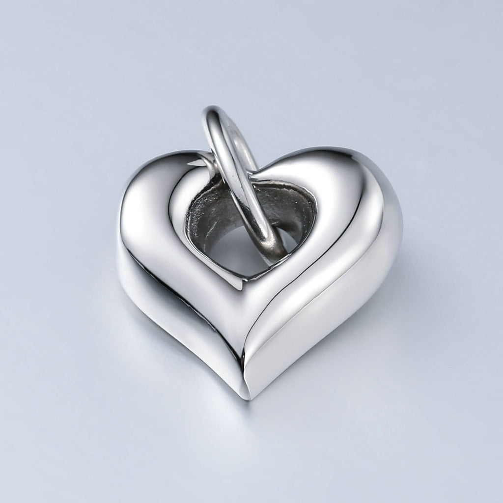 Cremation Ashes Necklace Pendant Stainless Steel Silver Heart 2 x 2.5cm
