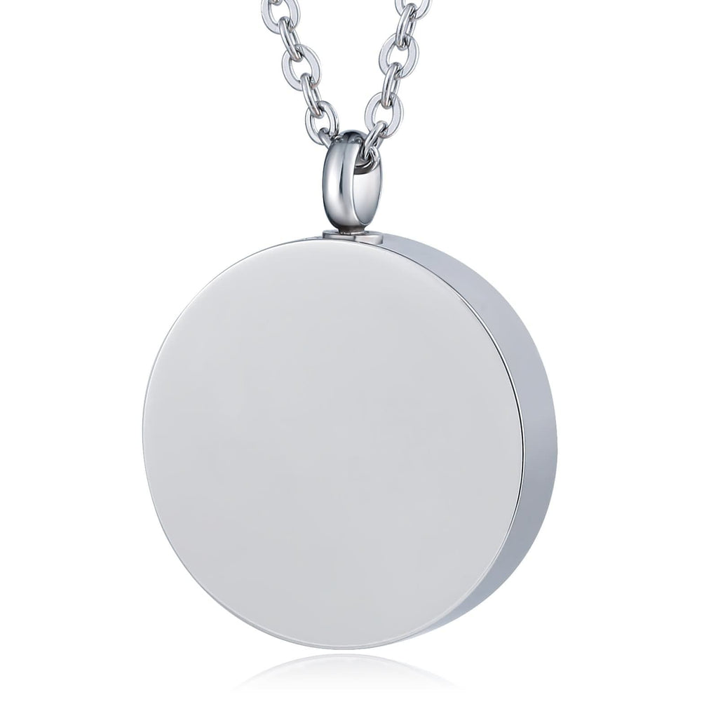 Urn Necklace Cremation Pendant Stainless Steel Round Engravable 2.5 x 3cm