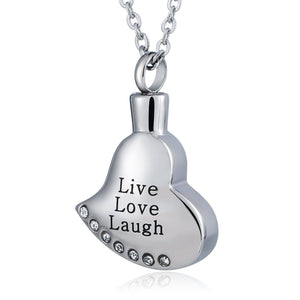 Ashes Necklace Keepsake Pendant Stainless Steel Heart Engravable 2 x 3cm