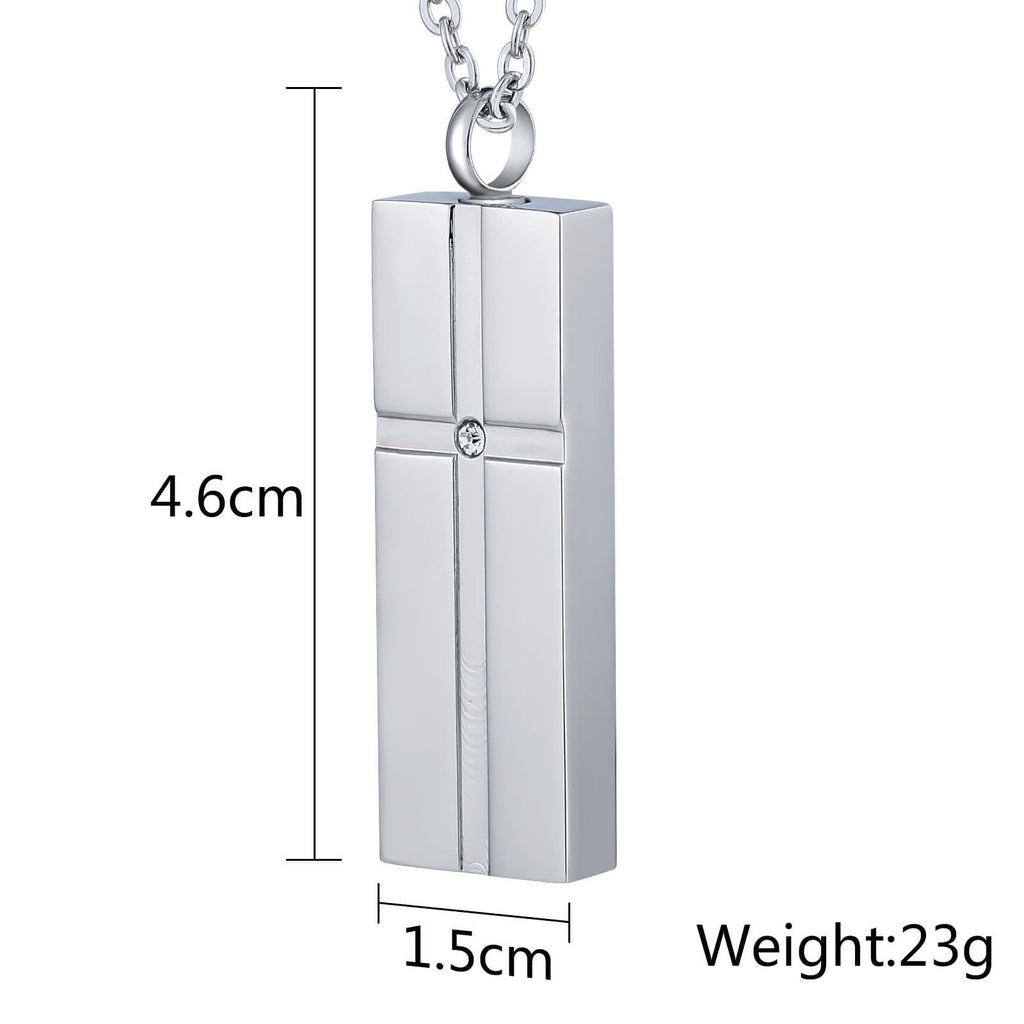 Urn Necklace Cremation Necklace Stainless Steel Rectangle 1.5 x 4.6cm