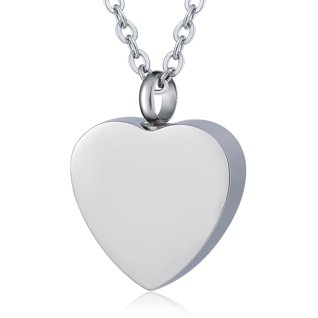 Ashes Necklace Keepsake Pendant Stainless Steel for Woman Heart Engraving 2 x 2.5cm