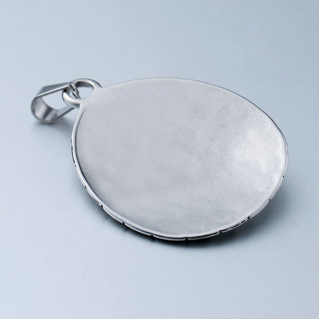 Necklace for Men Stainless Steel Red Oval Shape CZ Carton Pattern