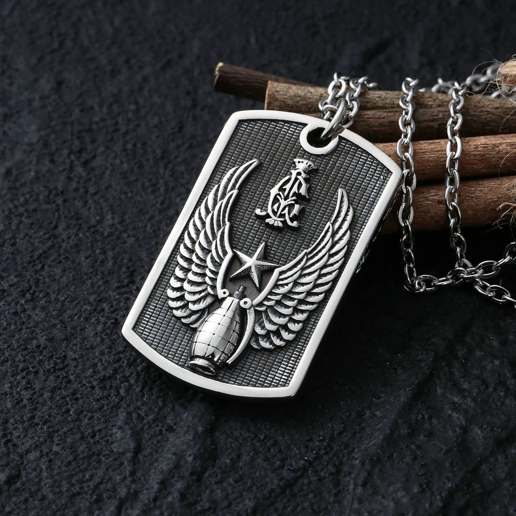 Necklace for Men Stainless Steel Silver Rectangle Wing Star