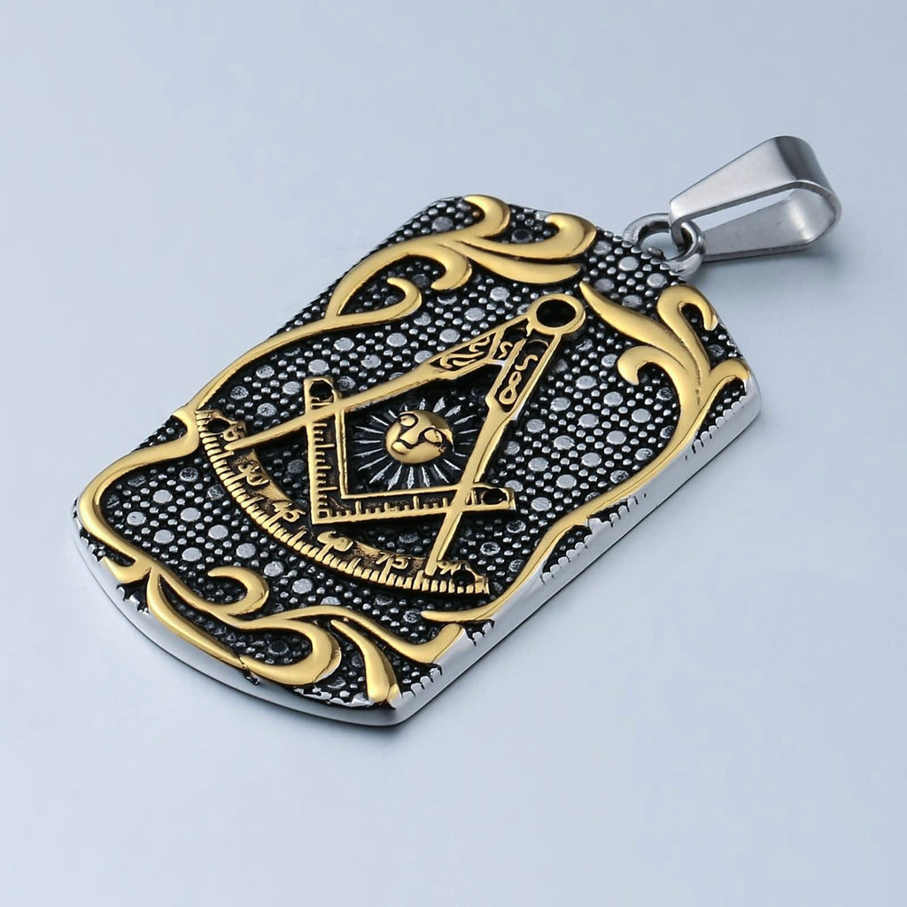 Necklace for Men Stainless Steel Gold Rectangular Masonic Pattern