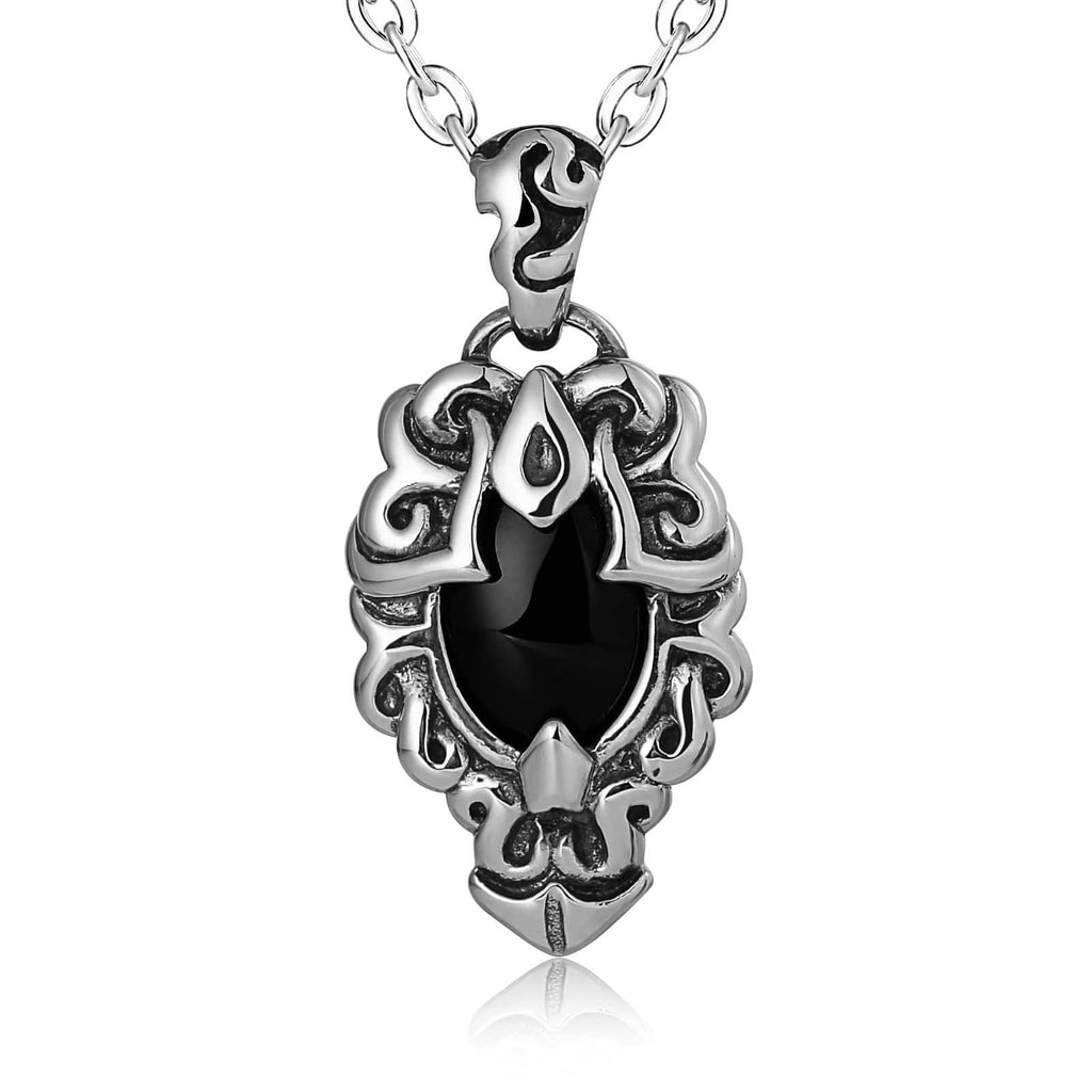 Necklace for Men Stainless Steel Black Totem Cubic Zirconia Black