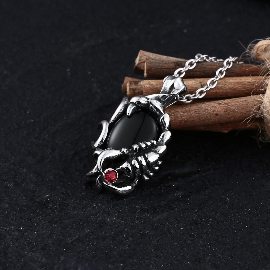 Necklace for Men Stainless Steel Black Scorpion Zirconia Black