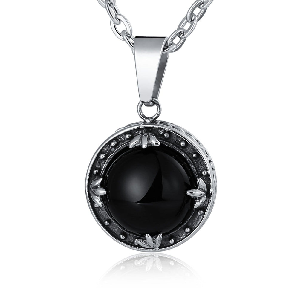 Necklace for Men Stainless Steel Black Round Black Cubic Zirconia