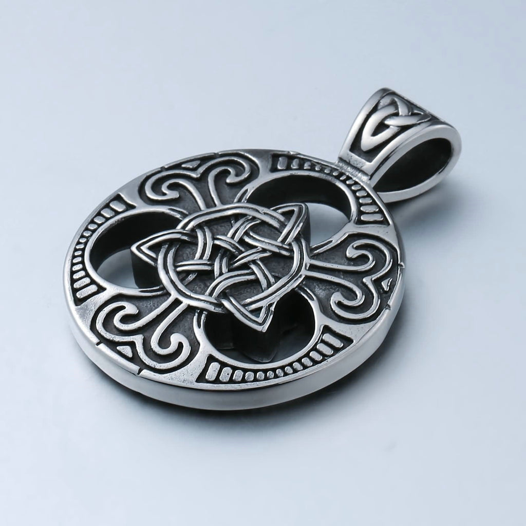 Men Necklace Stainless Steel Hollow Woven Cross Flower Shaped