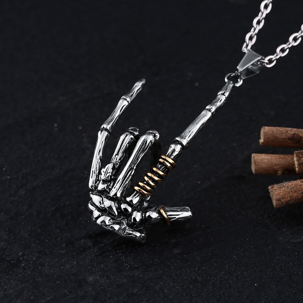 Men Necklace Stainless Steel Gold Skeleton Hand I Love You