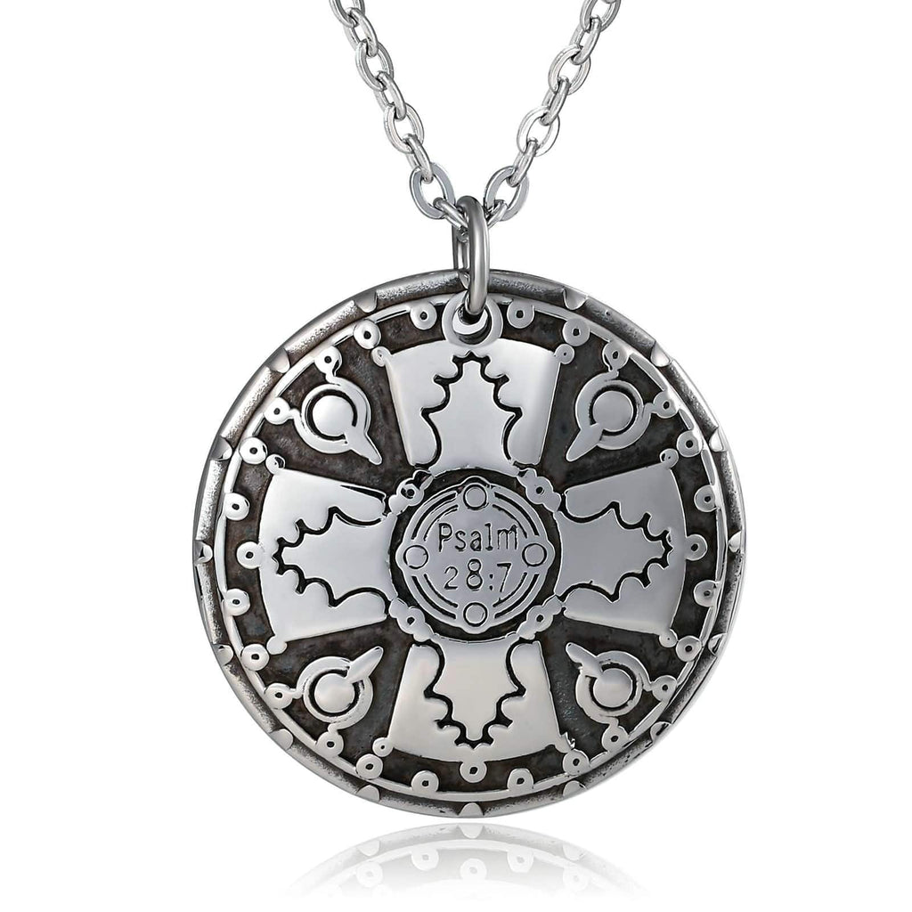 Men Necklace Stainless Steel Silver Round Shield Letter Engraving